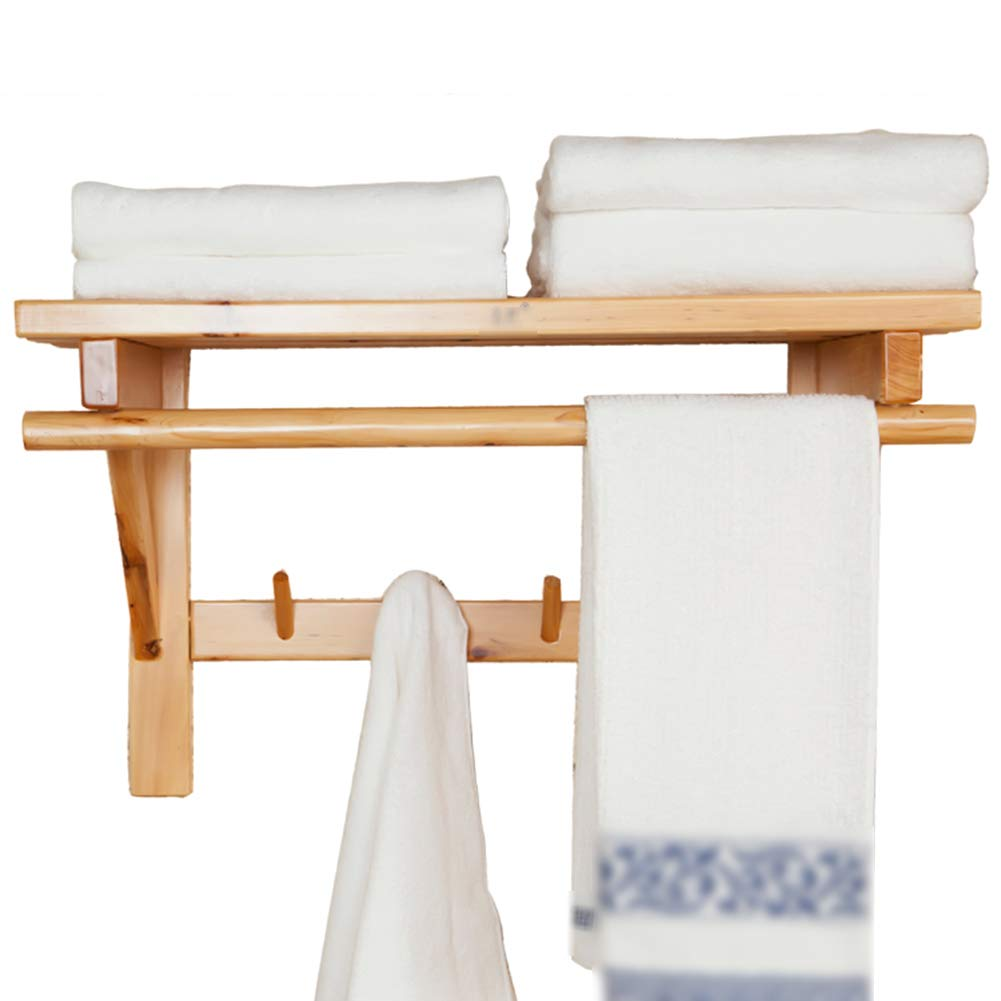 KKCF Bathroom Shelves Rack Wall Mount Storage Towel Rack Two Layers with Hook Drain Multifunction Wood, 3 Sizes (Color : Wood Color, Size : Length 50cm)