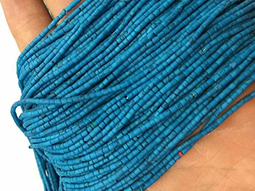 20 Strands Natural Afghan Tiny Seed Small Blue Heishi Turquoise Stone Strand String 1-2 mm. Spacer Loose Beads Jewelry Making Supplies Gemstone Hand cut Necklace, Bracelets, Anklet
