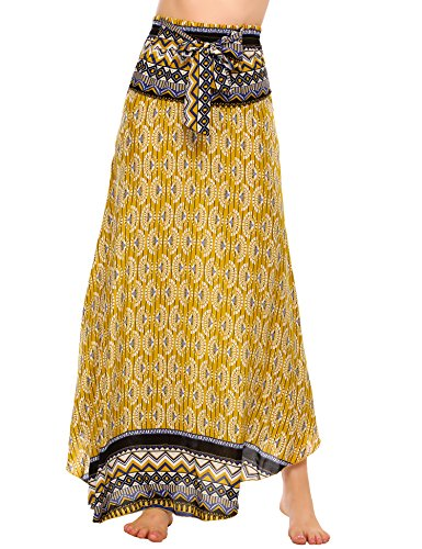 Zeagoo Women Long Bohemian Floral Print Hippie Skirt Summer Beach Maxi Skirts (Hippie Print Tie)