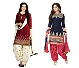 Marmic Fab Lowest Price salwar suit for women with golden border and cream color design near neck and bottom of Faux Cotton salwar suit with beautiful Faux Cotton Chiffon Dupatta.