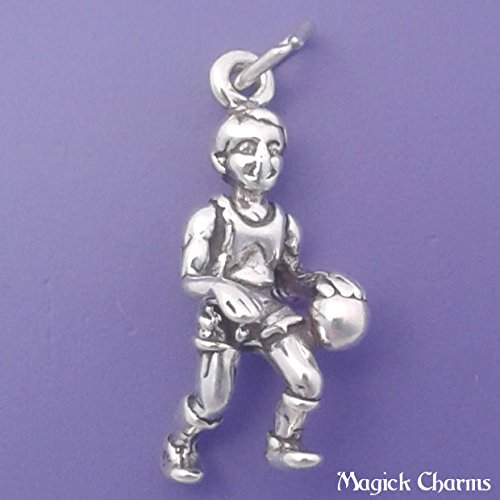 (Sterling Silver 3-D BASKETBALL PLAYER Charm Pendant - lp2451 Jewelry Making Supply Pendant Bracelet DIY Crafting by Wholesale Charms)