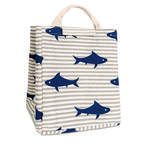 Shark Corroding (HOMESPON Reusable Lunch Bags Printed Canvas Fabric with Insulated Waterproof Aluminum Foil, Lunch Box Tote Handbag for Women, Kids, Students(Blue Shark))