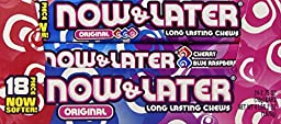 Now & Later Original Taffy Chews Candy, Cherry Blue Raspberry, 2.75 Ounce Bar, Pack of 24