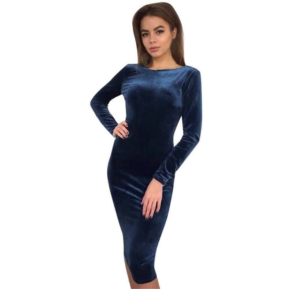 iLUGU O-Neck Long Sleeve Knee-Length Dress for Women Solid Color Pencil Dress Evening Dresses for Women Blue