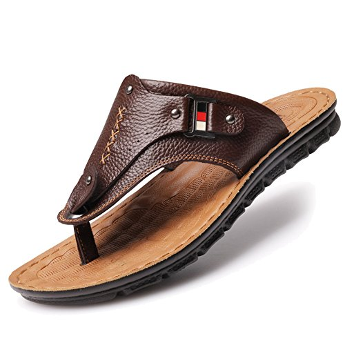 Piscina Gran para Al Sandalias Tamaño De Hombres Caminar De Genuino MERRYHE Playa De Libre De Zapatos Brown3 para Aire Sandalias para Slip Cuero On Adultos Slippers qwCF6xIBE