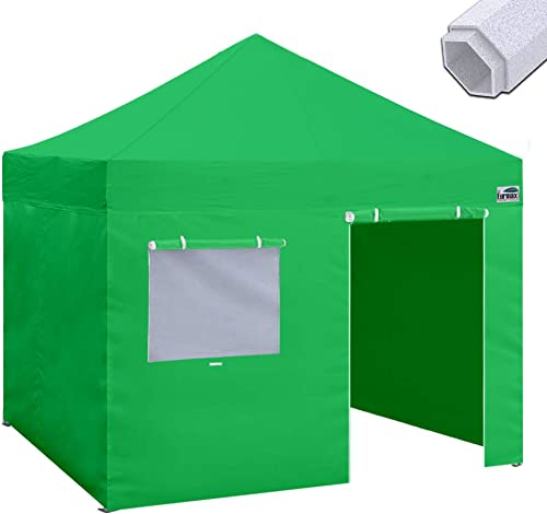Eurmax Premium 10 x10 Ez Pop-up Canopy Tent Commercial Instant Canopies Shelter with Removable Sidewalls Bonus Wheeled Carry Bag Kelly Green