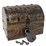 #9: Nautical Cove Pirate Treasure Chest with Iron Lock and Skeleton Key - Storage and Decorative Box (Small 8 x 6 x 6)