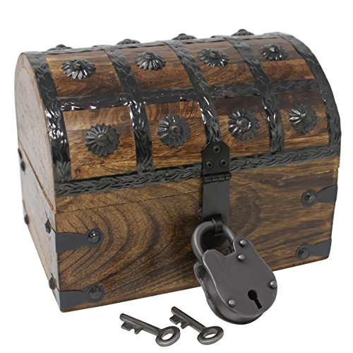 Nautical Cove Pirate Treasure Chest with Iron Lock and Skeleton Key - Storage and Decorative Box (Small 8 x 6 x 6)