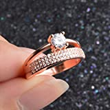 Rose Gold Plated Crystal Engagement Promise Rings Womens Wedding Jewelry Hot (7)