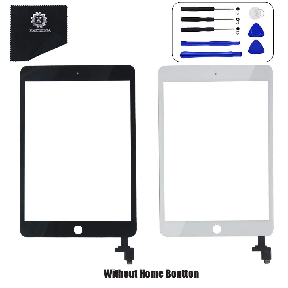 KAKUSIGA Compatible with iPad Mini 3 (3rd Generation) Retina Display Touch Screen Digitizer Glass OEM Assembly, IC Chip, Adhesive Tape, and Repair Toolkit Without Home Button (White)