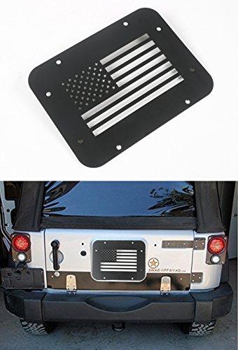 Opar Black Steel USA Flag Tailgate Vent-Plate Cover for 2007 - 2018 Jeep JK Wrangler & Unlimited