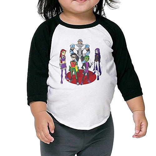 Kid's Teen Titans Toddler Boy's Girl's 3/4 Sleeve Raglan Tees 100% Cotton 3 Toddler]()
