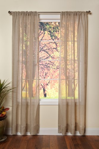 Cotton Craft - Pure 100% Linen Rod Pocket Window Panels - One Pair - Natural 54x108. Hand Crafted & Hand Stitched Sheer Linen panels - Generous 6 inch hem. Enjoy the sophisticated luxury of Pure Linen (Pure Linen)