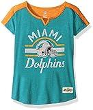 """NFL Girls 7-16 """"Tribute"""" Football Tee -Aqua-L(14), Miami Dolphins"""