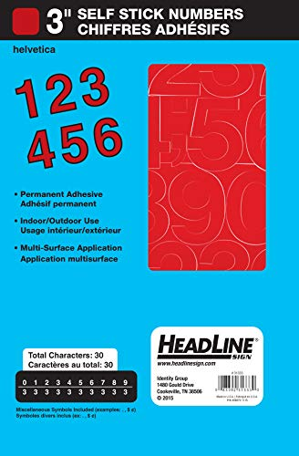 Headline Sign 31333 Stick-On Vinyl Numbers, Red, 3-Inch (Red Numbers Vinyl)