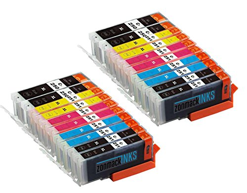 Zonmack Inks (TM) Compatible PGI-250-XL & CLI-251-XL Ink Cartridge Replacement 20 Pack for PIXMA Inkjet Printers MX922 MG6620 MG7520 IP7220 IX6820 MG5420 MG5422 MG5520 MG5522 MG5620 mx722 250XL 251XL
