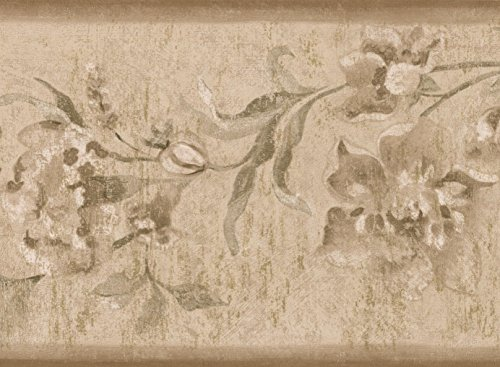 Abstract White Flowers on Vine Beige Floral Wallpaper Border Retro Design, Roll 15' x 6.75''
