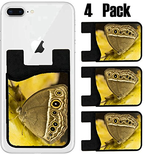 MSD Phone Card holder, sleeve/wallet for iPhone Samsung Android and all smartphones with removable microfiber screen cleaner Silicone card Caddy(4 Pack) butterfly eating nectar from pine IMAGE - Order Nectar New Card A