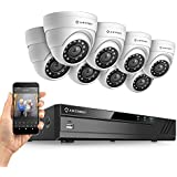 Amcrest Full-HD 1080P 8CH Video Security System w/ Eight 2.0MP (1920TVL) Outdoor IP67 Dome Cameras, 66ft Night Vision, Hard Drive Not Included, (AMDV10818-8D-W)
