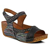 Spring Step Women's Style Jaslyn Black Multi EURO Size 39 Leather Slide Sandal