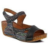 Spring Step Women's Style Jaslyn Black Multi EURO Size 39 Leather Slide Sandal