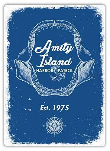 Tin Sign 8X12 inches Amity Harbor Patrol Plaque Art Shark Island Boat Great Metal Tin Sign