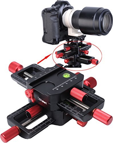 (iShoot Universal All Metal 150mm 4-way Macro Focusing Rail Slider Close-up Shooting Head Camera Support Bracket Holder With Arca-Swiss Fit Clamp and Quick Release Plate in Bottom for Tripod)