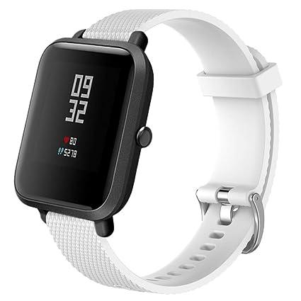 Zolimx Xiaomi Huami Amazfit Bip Reloj Reemplazo Suave Silicagel Deportes Banda Correa (Blanco)