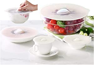 Silicone Microwave Food Covers - 4, 6, 8, 10, 12 inch Reusable Suction Seal Covers Silicone Lids for Bowls, Pots, Cups, Food Safe - FDA Approved, Dishwasher Safe