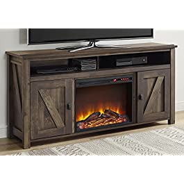Ameriwood Home Farmington Electric Fireplace TV Console for TVs up to 60″, Rustic