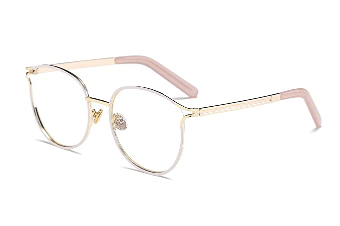Amomoma Retro Round Women Eyeglasses Eyewear Optical Frame Clear Glasses AM5005 With White Frame/Gold Temple