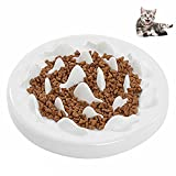 Petacc Slow Feeder Ceramic Cat Bowl Anti-choke Pet Bowls against Bloat, Indigestion and Obesity, White