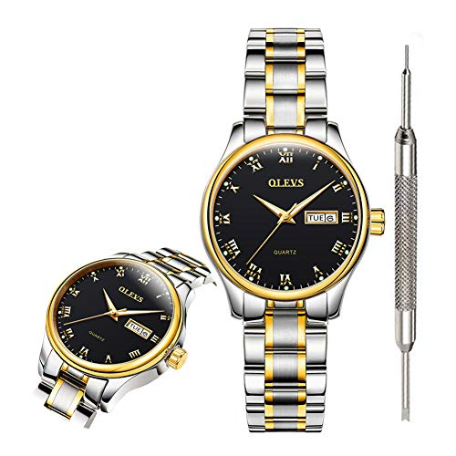 OLEVS Fashion Black Watches for Women Waterproof Inexpensive Analog Quartz Wrist Watches for Women Stainless Steel Calendar Day Date Watch 2019 Gift Watch