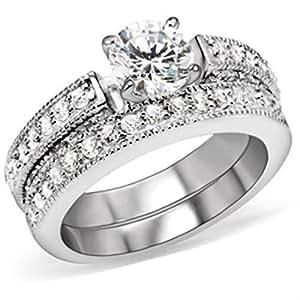 Yourjewellerybox - Anillo con detalle de anillo de matrimonio - para mujer - 18kt bañado en oro blanco: Amazon.es: Joyería