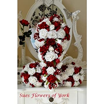 Wedding Flowers Brides Set In Red And White Roses Amazon