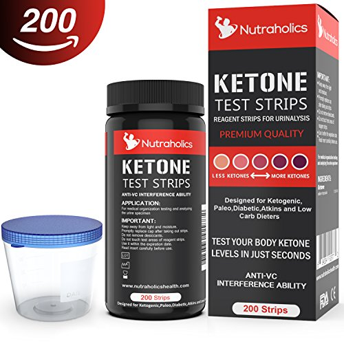 Ketone Strips for Testing Ketosis on the Ketogenic Diet, 200 Strips Including Urine Cup