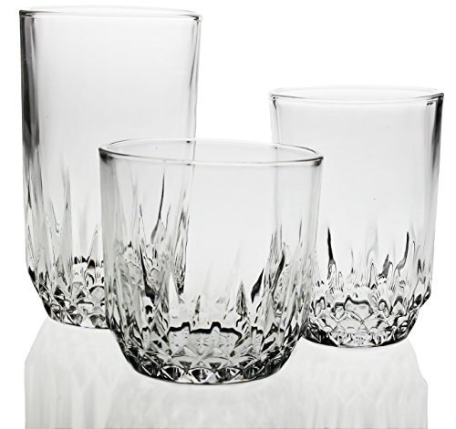 Glassware Drinking 18-Piece Set, Modern Designed Glasses, Use for Wine,Whiskey, Champagne, Beer, Water and Juice, Best and Unique Drinking Glasses Set, Restaurant-Style ()