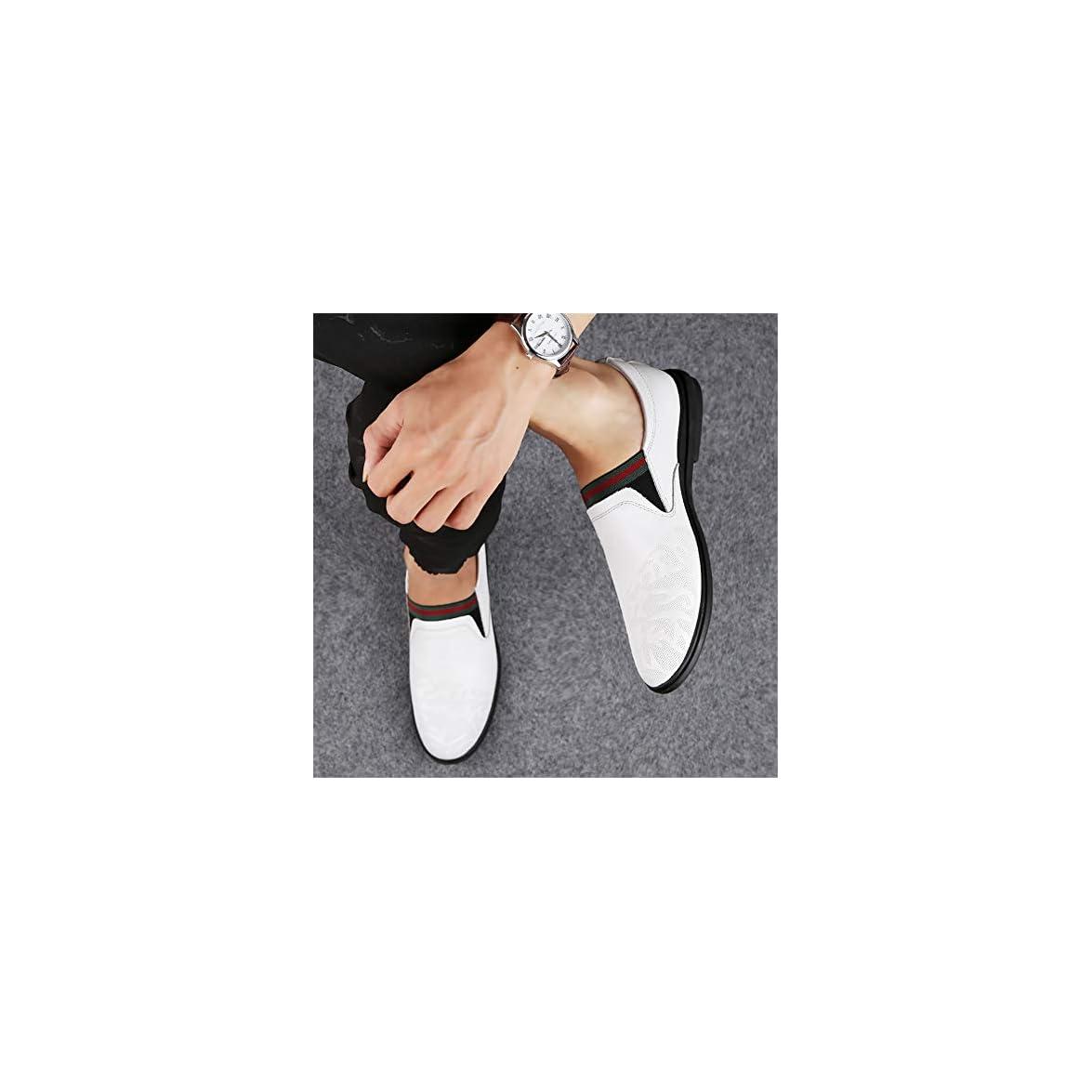 Gpf-fei Scarpa Da Uomo In Pelle Pigro Scarpe Mocassini Guida Piselli Confortevole Moda Tempo Libero white 45