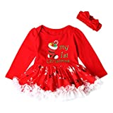 MIRRAY Toddler Kids Baby Girls Dresses Long Sleeve Letter Christmas Tree Pattern Printed Princess Party Cute Tutu Dress+Bowknot Headbands Casual O-Neck Loose Outfits Mini
