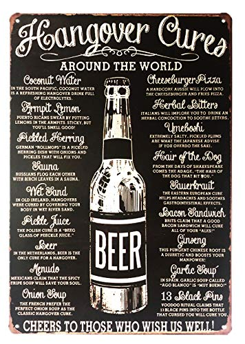 UNIQUELOVER Wine Signs Funny, Hangover Cures Vintage Retro Kitchen Metal Sign Wall Home Decor 12 X 8 Inches