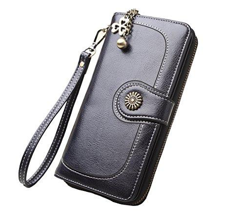 Zlover Women's Card Holder Wallet RFID Blocking Large Capacity Luxury Wax Clutch Purse Black