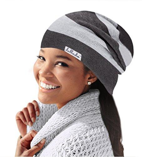 Silk Winter Hat (Lullado Silk Satin-Lined Slouchy Beanie Warm Winter Hat in Fine Knit, Lull Cap, Chemo Cap, Unisex   Ships Fast! (Misty Gray))