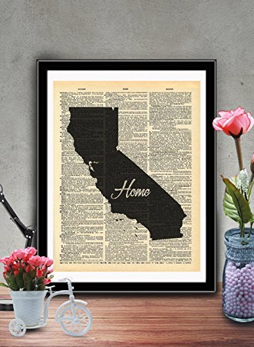 Art Print California (California State Vintage Map Vintage Dictionary Print 8x10 inch Home Vintage Art Abstract Prints Wall Art for Home Decor Wall Decorations For Living Room Bedroom Office Ready-to-Frame Home)