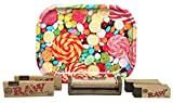 Mini Rolling Tray (Candy), RAW 1 1/4 Rolling Paper (2 Packs), Rolling Tips (2 Packs), with RAW Cigarette Maker - 6 Item Bundle