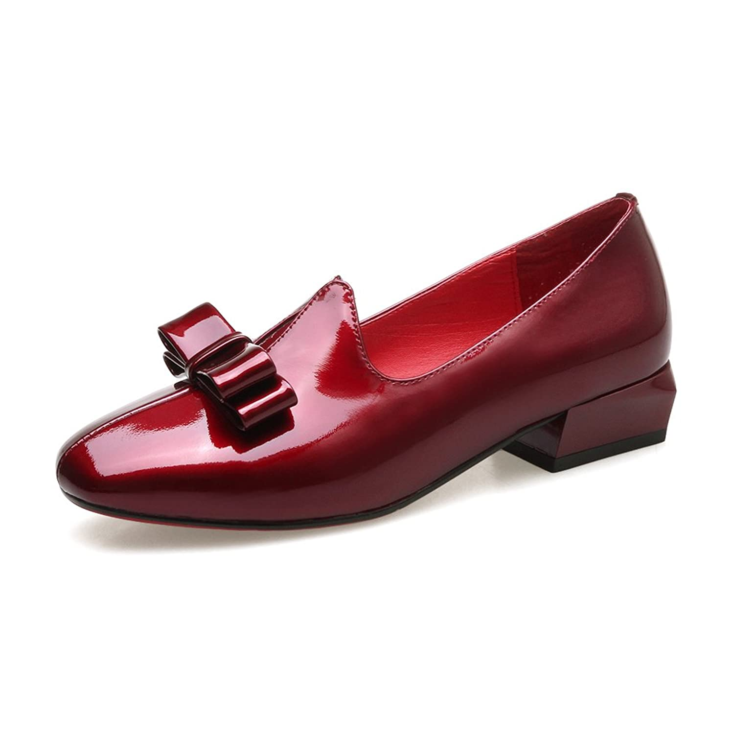 f6375617fd3f free shipping Nine Seven Patent Leather Women s Square Toe Chunky Heel  Bowknot Handmade Loafers Shoes