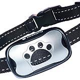 Avimera No Bark Dog Training Silver Collar [Upgraded] Intelligent NO Shock Humanely Stops Barking with Sound & Vibration for Small, Medium & Large Dogs