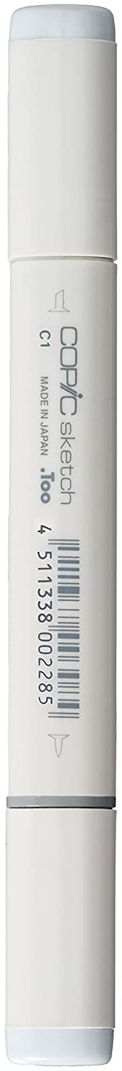 Copic Sketch Marker, Oval Shaped Barrel, Medium Broad and Super Brush Nibs, C0 Cool Gray 0 (C0-S)
