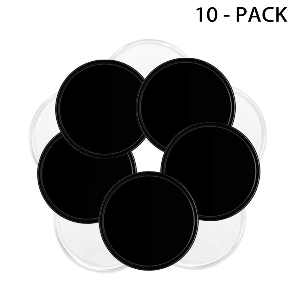 Removable Fixate Sticky Gel Pads by Pure & Merit: [Round Black 5pcs & Transparent 5pcs] Multi Purpose Washable and Reusable with NO Residue