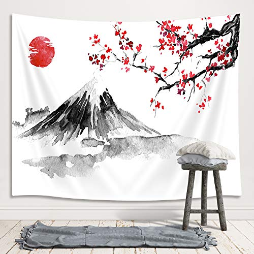 Japanese Mount Fuji Decor Tapestry, Asian Cherry Blossoms Sakura Floral Spring Sunset Ink Painting Art Wall Hanging for Bedroom Living Room College Dorm TV Backdrop Wall Blankets 71X60 ()