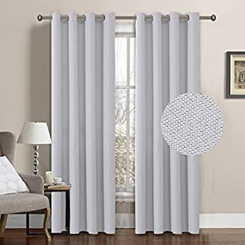 hversailtex classic grommet thermal insulated textured linen extra long curtains u0026 drapes52 by 108 inch greyish white1 panel